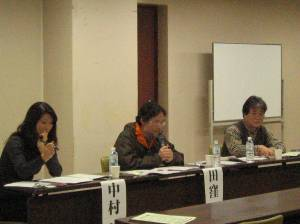 左から、中村ピースデポ事務局長、田窪氏、田巻氏(ピースデポ)